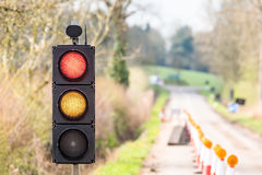 UK Motorway Roadworks Red Yellow Traffic Lights Cones Stock Image