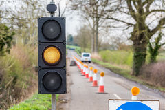 UK Motorway Roadworks Yellow Traffic Lights Cones Stock Photography