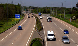 UK Motorway Traffic. Including cars and trucks Royalty Free Stock Image