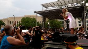 UK music chart certified number 1 platinum singer Rita Ora in a live outdoor performance in Washington DC last June 8, 2014. At the 39th Annual Capital Pride Stock Photo