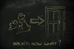 UK next to an exit door with arrow, Brexit now what Stock Photos