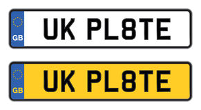 Uk number plate. White and yellow uk number plate Stock Image
