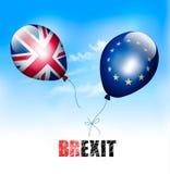 UK och EU på ballonger Brexit begrepp Arkivfoto