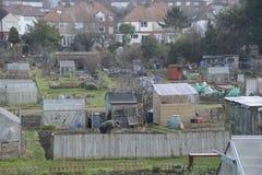 UK-odlingslottar som visar socialt hus Arkivbild