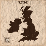 UK old map with grunge and crumpled paper. Vector illustration Stock Photography