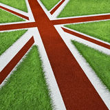 UK Olympics track flag. 3D render of UK flag as sports track concept Royalty Free Stock Image