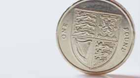 UK One pound coin rolling in slow motion stock video