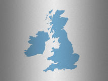 UK outline map. Outline map of UK on simulated stainless steel background Royalty Free Stock Photos