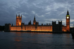 UK Parliament by Night Stock Images
