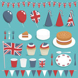 Uk party set. Collection of united kingdom party items with balloons, cake and bunting Stock Photo