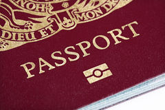 UK passport. Close up on front cover Stock Photos