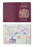 UK Passport inside and outside. Inside and outside of a well travelled UK Passport, isolated against white with clipping path Stock Photography