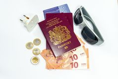 United Kingdom biometric passport and euro currency royalty free stock image