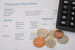 Uk pension review with british money Royalty Free Stock Photography