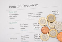 UK pension review with british money. Pension review showing the UK state pension for 2017 and imagined workplace pension, with british moneyn stock photo