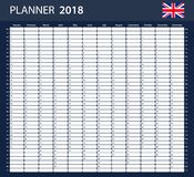 UK Planner blank for 2018. English Scheduler, agenda or diary template. Stock Image