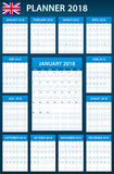 UK Planner blank for 2018. English Scheduler, agenda or diary template. Week starts on Monday Royalty Free Stock Photography