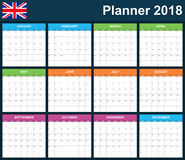 UK Planner blank for 2018. English Scheduler, agenda or diary template. Week starts on Monday.  Royalty Free Stock Photo