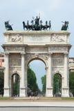 Łuk pokój w Mediolan zdjęcie stock