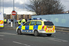 UK police vehicles. At the scene of a public disturbance Royalty Free Stock Image
