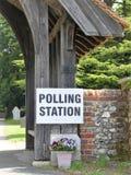 UK polling station sign at church premises royalty free stock photo
