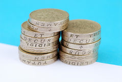 UK pound coins. Close-up of stack of UK pound coins Royalty Free Stock Photo