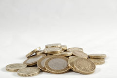 Uk Pound Coins. A pile of one and two pound coins Stock Photography