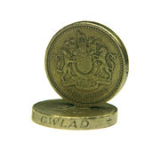 UK 1 pound coins Stock Photos