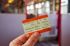 UK Rail National standard ticket. LONDON, ENGLAND - MAY 14, 2017 : UK Rail National single offpeak standard ticket. In the United Kingdom, National Rail is the Royalty Free Stock Photo