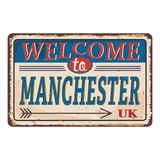UK retro welcome to Manchester Vintage sign. Travel destinations theme on old rusty background. Vintage sign Travel destinations theme on old rusty background stock illustration