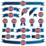 Uk ribbons. Blue and gold ribbons with union jack emblems, isolated on white Royalty Free Stock Photography
