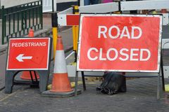 UK road closed sign Royalty Free Stock Image