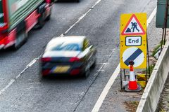 UK Road Services Roadworks End sign on motorway.  royalty free stock image