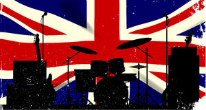 UK Rock Band. Grunge Union Jack flag as a bakground to a rock band silhouette royalty free illustration