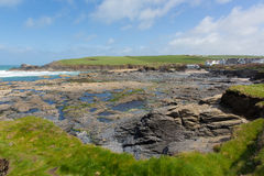UK rocky coastal scene Newtrain Bay North Cornwall near Padstow and Newquay England Stock Photo