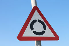 UK roundabout ahead warning sign Royalty Free Stock Photography