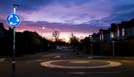 UK Roundabout. General View of the UK Roundabout, residential area in the evening, houses present Stock Image
