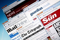 UK`s news web sites Royalty Free Stock Photo