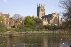 UK Scenic - Worcester. England, Worcestershire, Worcester, River Severn, Cathedral in spring sunshine royalty free stock images