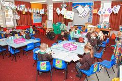 UK school classroom. With school children working