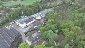 UK Scotland aerial Glen Speyside Single Malt Whisky Trails Distillery village. United Kingdom Scotland aerial Glen Grant Speyside Single Malt Scotch Whisky stock video