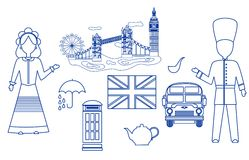 The UK set blue. Set in the style of a flat design on the theme of Great Britain Stock Photography