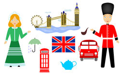 The UK set. Set in the style of a flat design on the theme of Great Britain Stock Photo