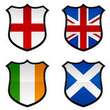 UK Shield Icons. A set of four shield icons using the flags of the United Kingdom royalty free illustration