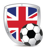 Uk shield soccer. Shield with UK flag and soccer ball royalty free illustration