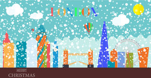 UK, Silhouette Christmas and New Year London city background. Ve Stock Photography