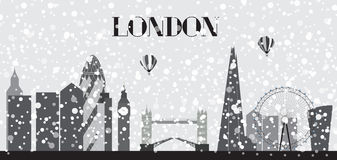 UK, Silhouette Christmas and New Year London city background. Ve Royalty Free Stock Image