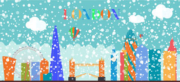 UK, Silhouette Christmas and New Year London city background. Ve Stock Image