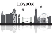 UK, Silhouette London city background. Vector Illustration. Royalty Free Stock Images
