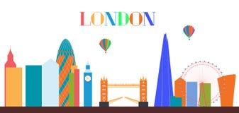 UK, Silhouette London city background. Vector Illustration. Stock Image